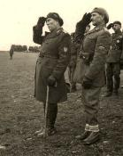 Brig. general Ioan Dumitrache (right) saluting the troops of the 2nd Mountain Division together with lt. general Gheorghe Avramescu
